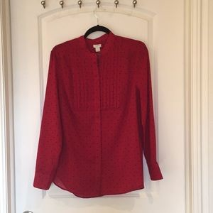 Red blouse with blue polka dots